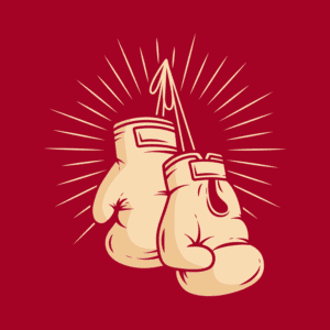 Approaching Ali graphic, showing two vintage boxing gloves hanging on a hook.